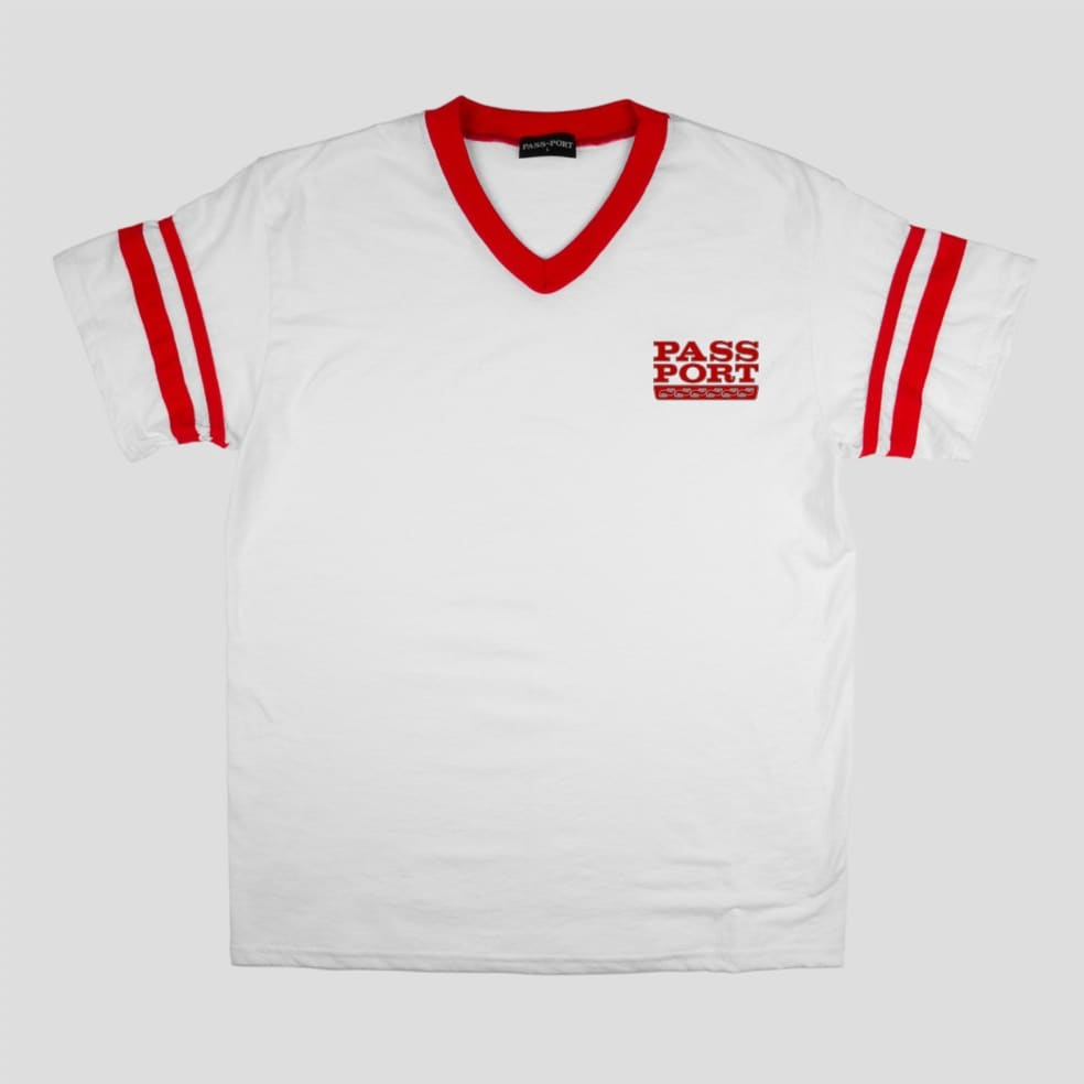 Pass~Port Auto Stripes Jersey - White / Red   T-Shirt by Pass~Port Skateboards 1