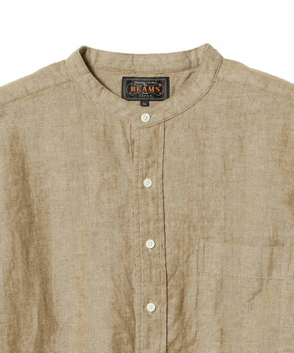 Beams Plus Band Collar Herringbone Pullover Shirt - Khaki Beige | Shirt by Beams Plus 2