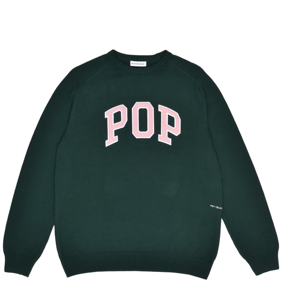 Pop Trading Company Arch Knitted Crewneck - Bistro Green | Sweatshirt by Pop Trading Company 1
