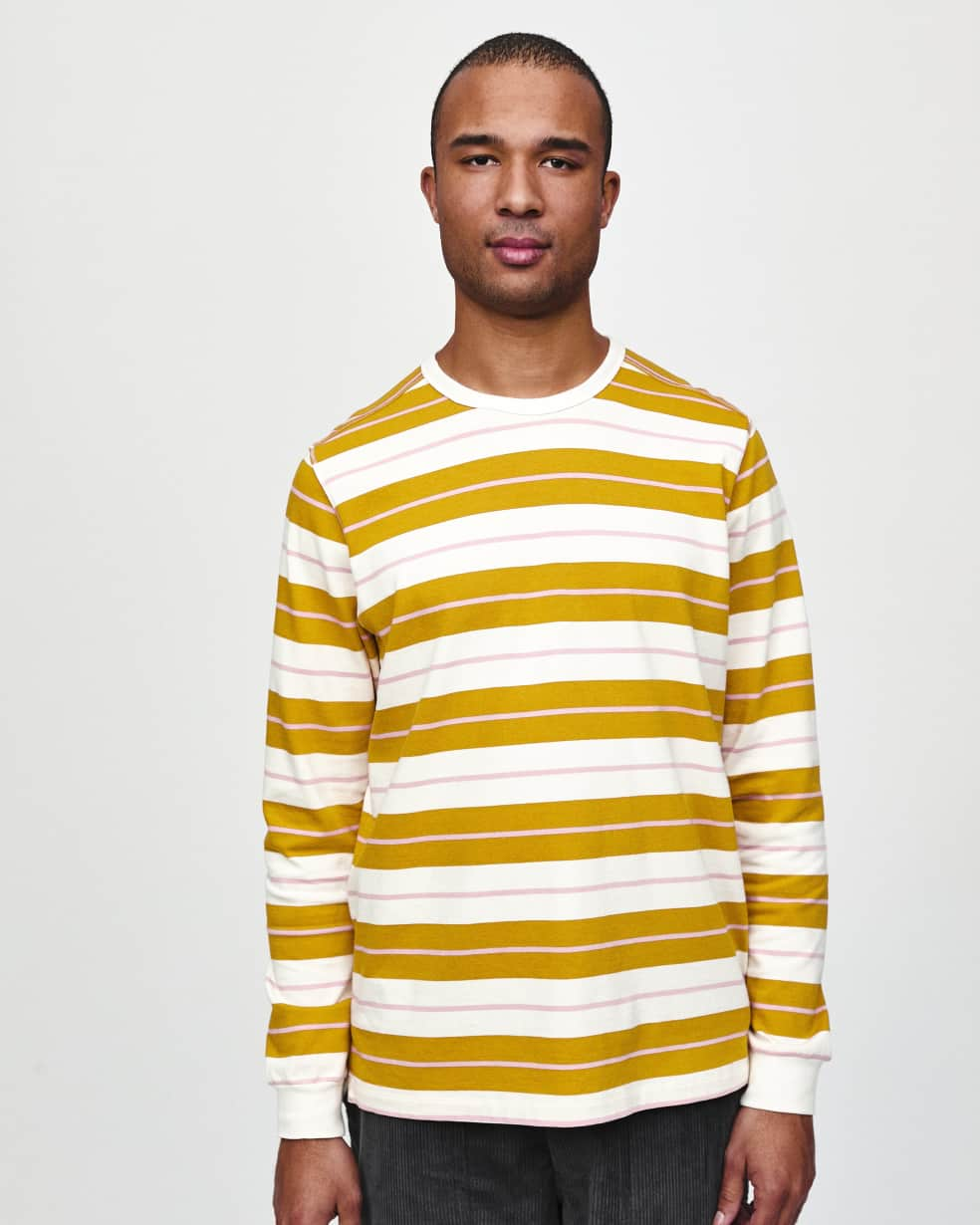 Pop Trading Company Striped Long Sleeve T-Shirt - Spruce Yellow / Off White | Longsleeve by Pop Trading Company 3