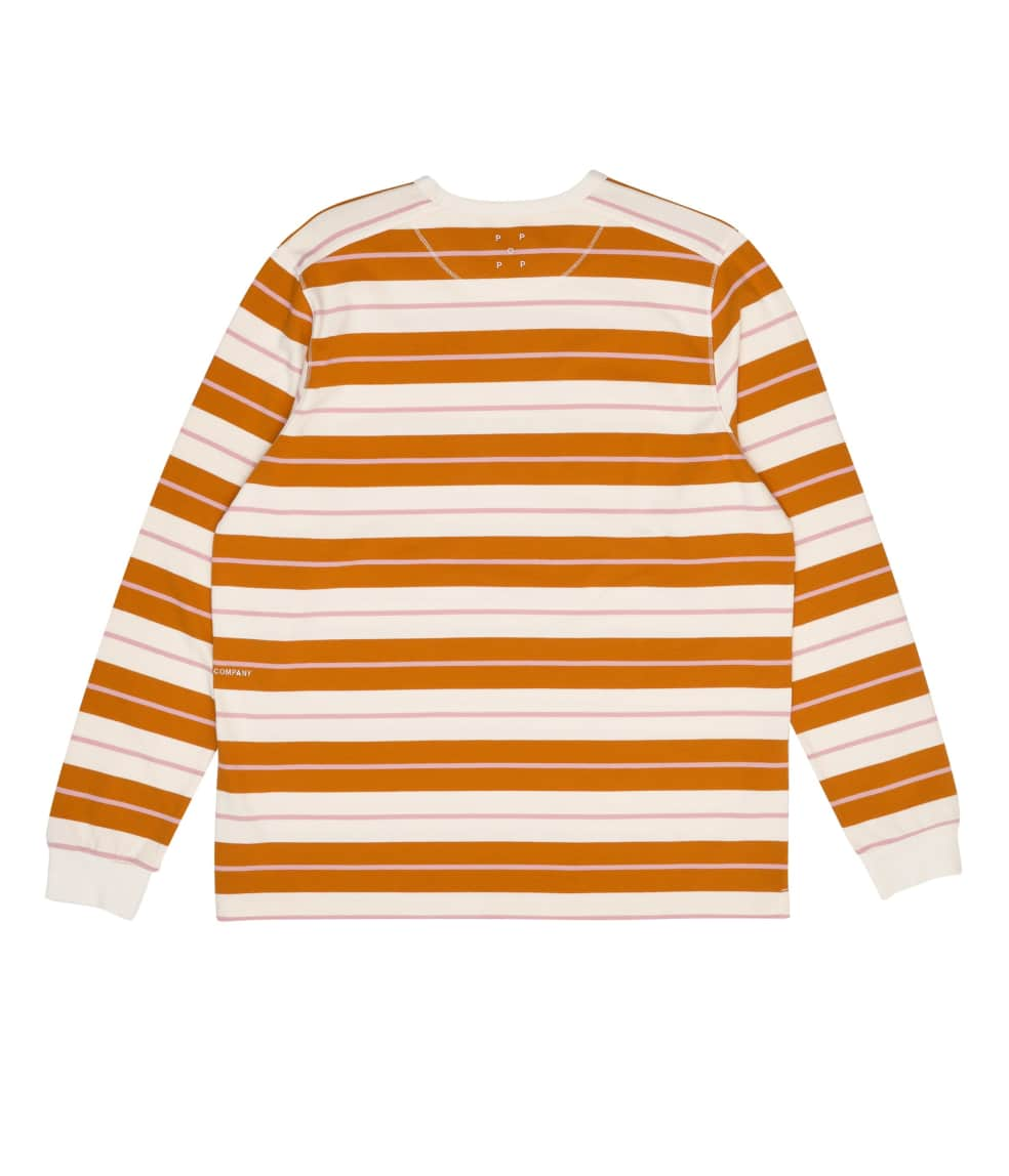 Pop Trading Company Striped Long Sleeve T-Shirt - Spruce Yellow / Off White | Longsleeve by Pop Trading Company 2