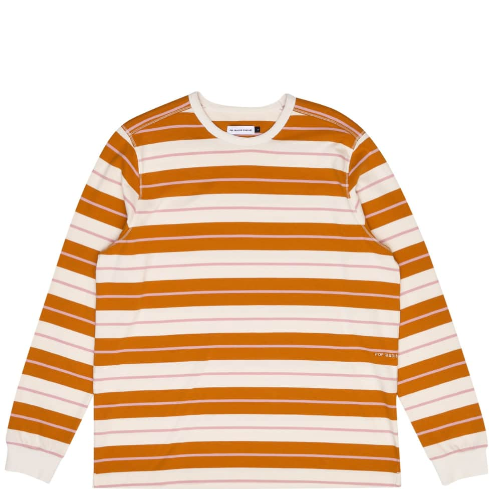 Pop Trading Company Striped Long Sleeve T-Shirt - Spruce Yellow / Off White | Longsleeve by Pop Trading Company 1