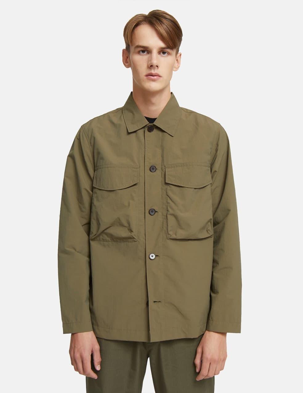 Wood Wood Fabian Tech Overshirt - Olive Green | Shirt by Wood Wood 1