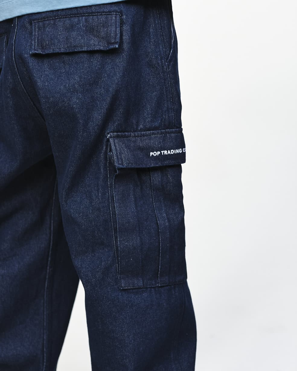 Pop Trading Company Denim Cargo Pants - Rinsed   Trousers by Pop Trading Company 3