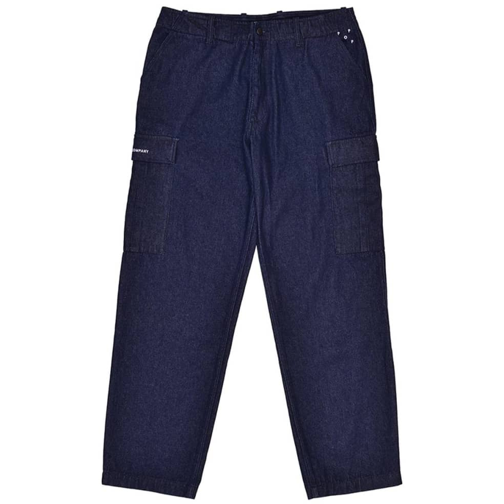 Pop Trading Company Denim Cargo Pants - Rinsed   Trousers by Pop Trading Company 1