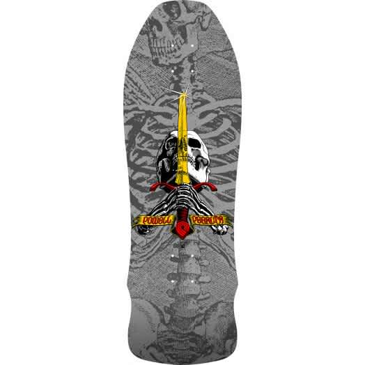 Powell Peralta Geegah Skull And Sword Silver Skateboard Deck 9.75 | Deck by Powell Peralta 1