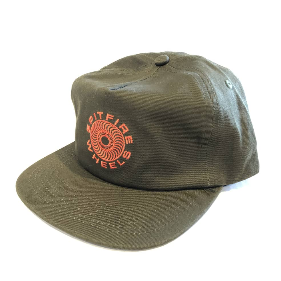 Spitfire Classic 87 Swirl Snapback Hat - Olive/Red   Snapback Cap by Spitfire Wheels 2