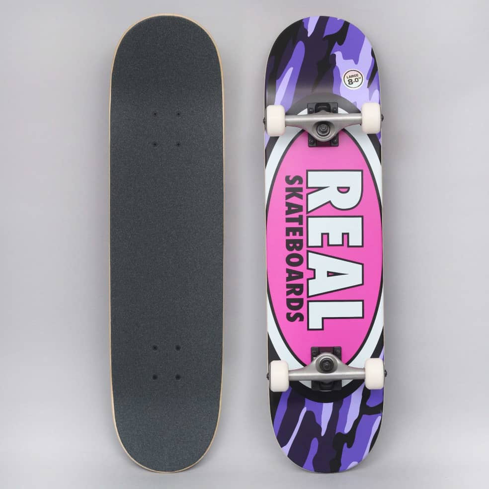 Real 8 Team Oval Camo Large Complete Skateboard | Complete Skateboard by Real Skateboards 1