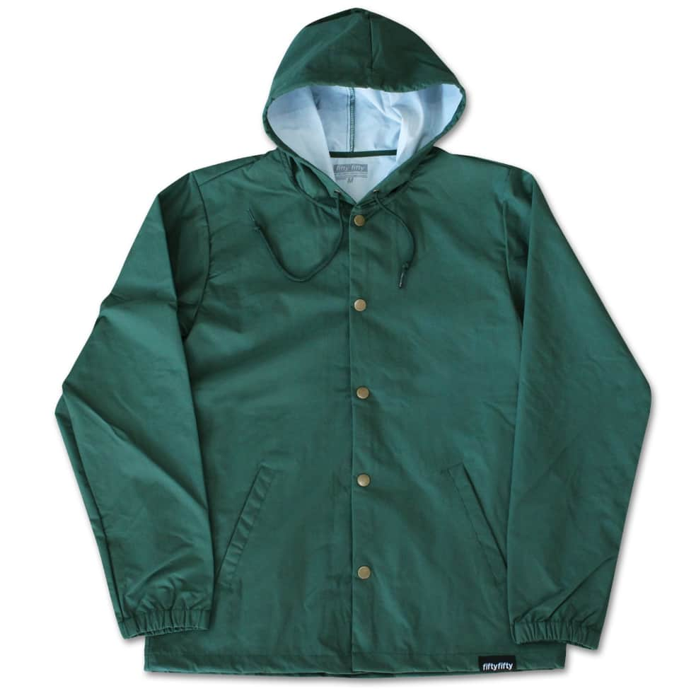 Fifty Fifty Outline Hooded Coach Jacket Forest Green | Coach Jacket by Fifty Fifty Store 2