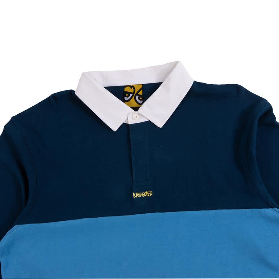 Krooked Skateboards Krooked Eyes Rugby Polo - Navy | Polo Shirt by Krooked Skateboards 3