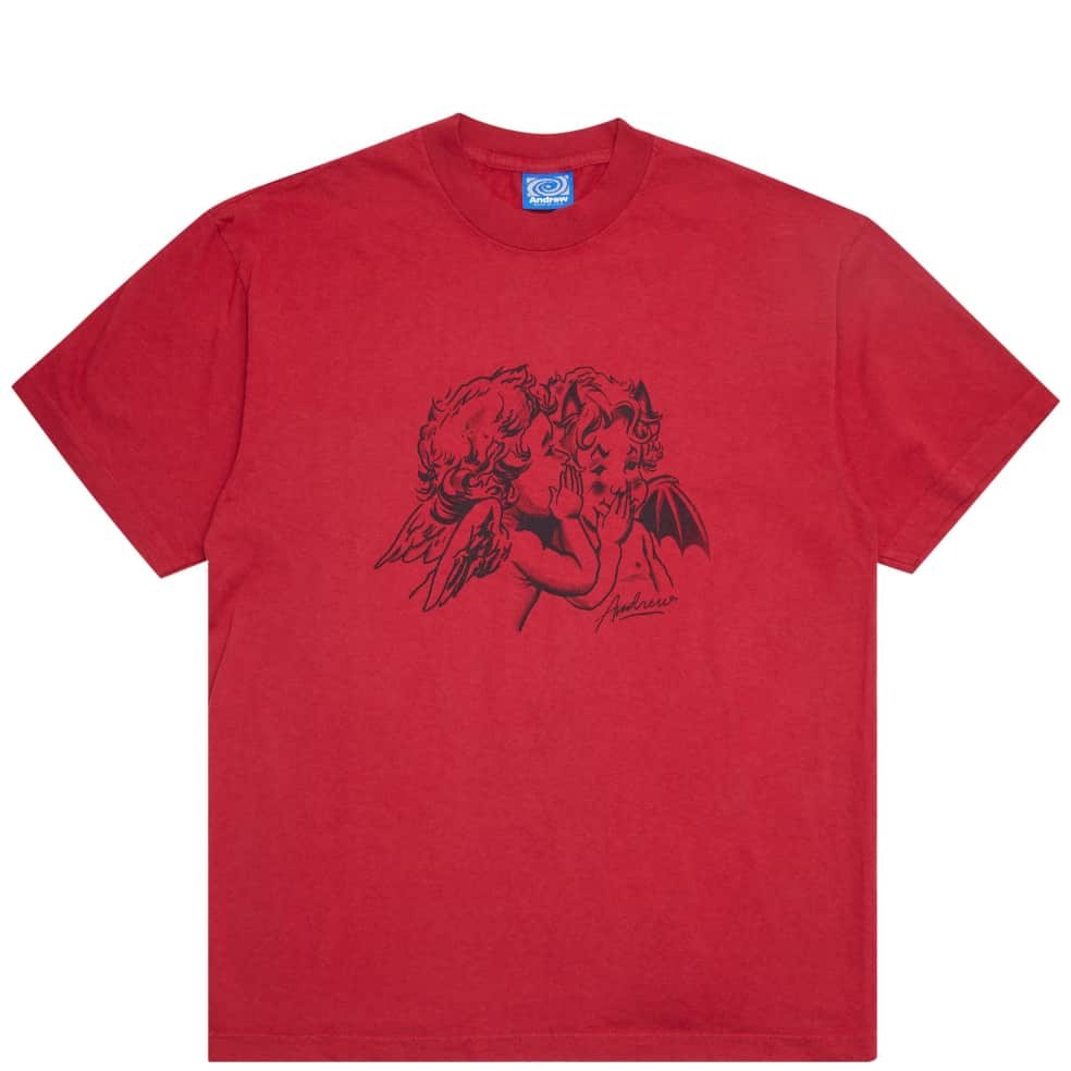 Andrew Good & Evil T-Shirt - Dark Red   T-Shirt by Andrew 1