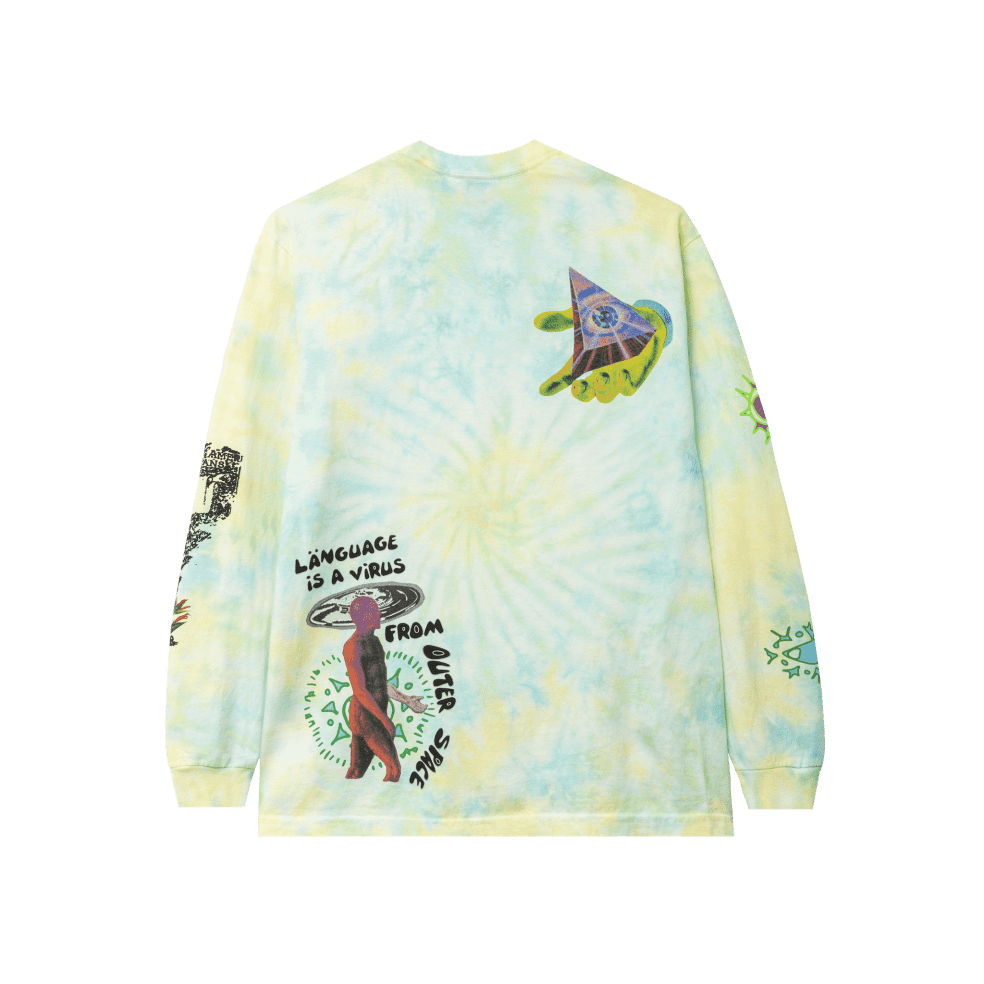 Real Bad Man From Outer Space Tie Dye Long Sleeve T-Shirt - Aqua Yellow | Longsleeve by Real Bad Man 2