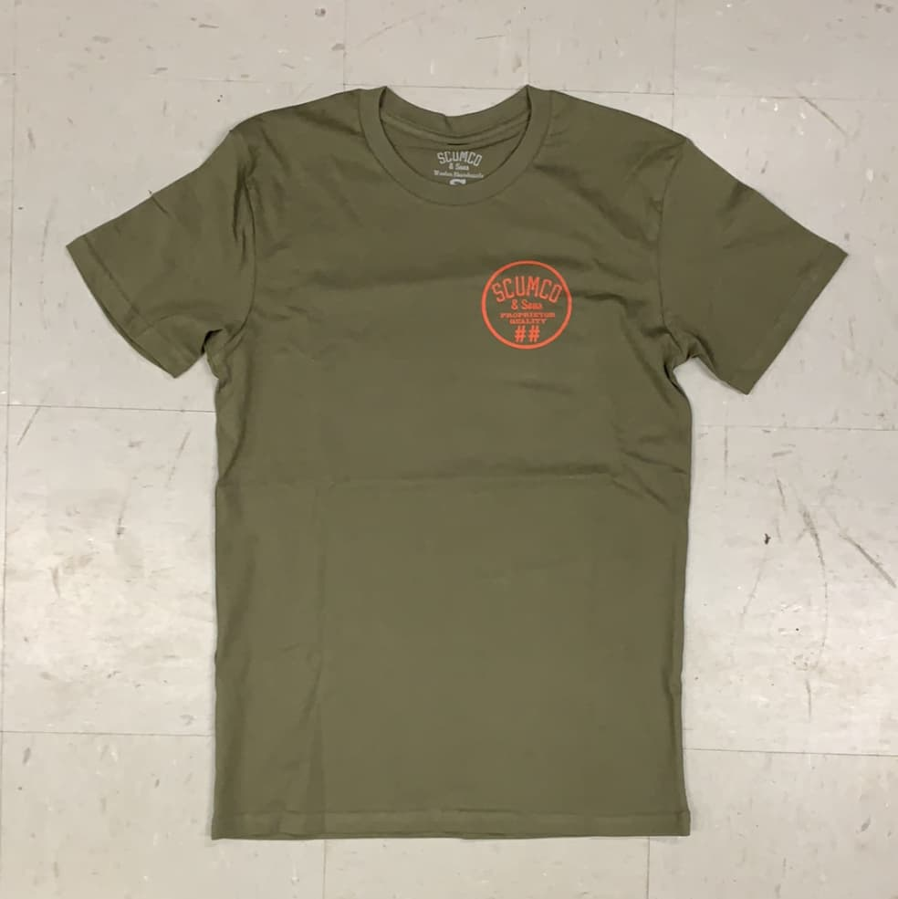 Scumco and Sons Skateboards Logo T-Shirt Olive Green | T-Shirt by Scumco Skateboards 2
