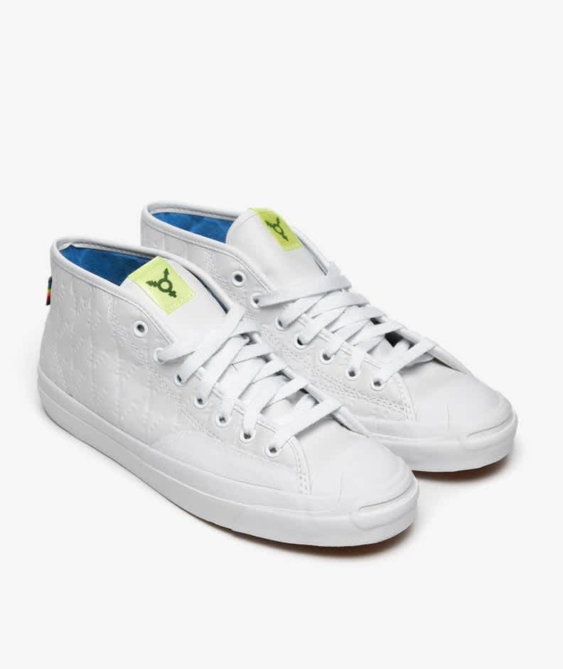 Converse CONS Jack Purcell Pro Mid Alexis Sablone Pride Shoes - White / Chambray Blue / White   Shoes by Converse Cons 3