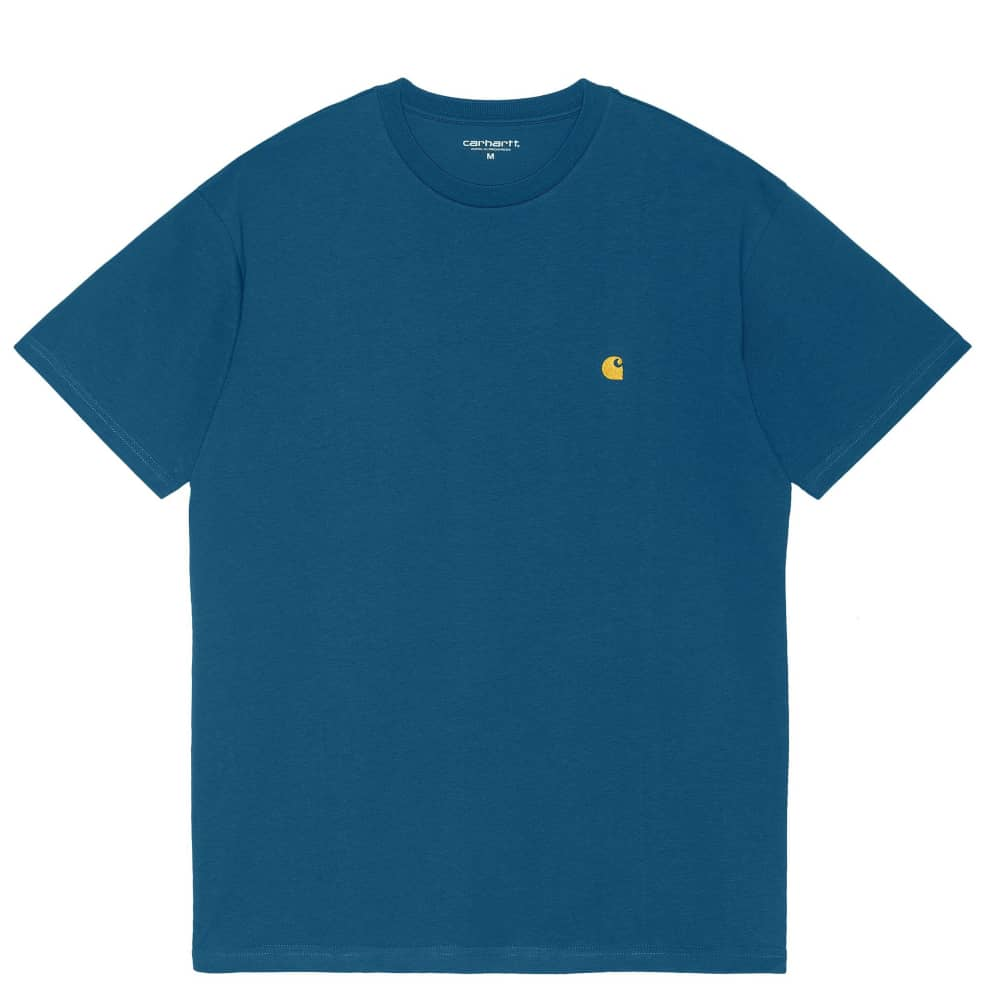 Carhartt WIP Chase T-Shirt - Skydive / Gold   T-Shirt by Carhartt WIP 1