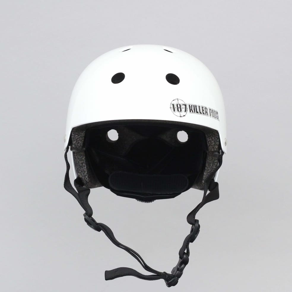 187 Killer Pads Certified Youth Helmet With Adjuster Gloss White | Helmet by 187 Killer Pads 1