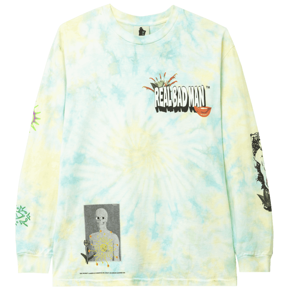 Real Bad Man From Outer Space Tie Dye Long Sleeve T-Shirt - Aqua Yellow | Longsleeve by Real Bad Man 1