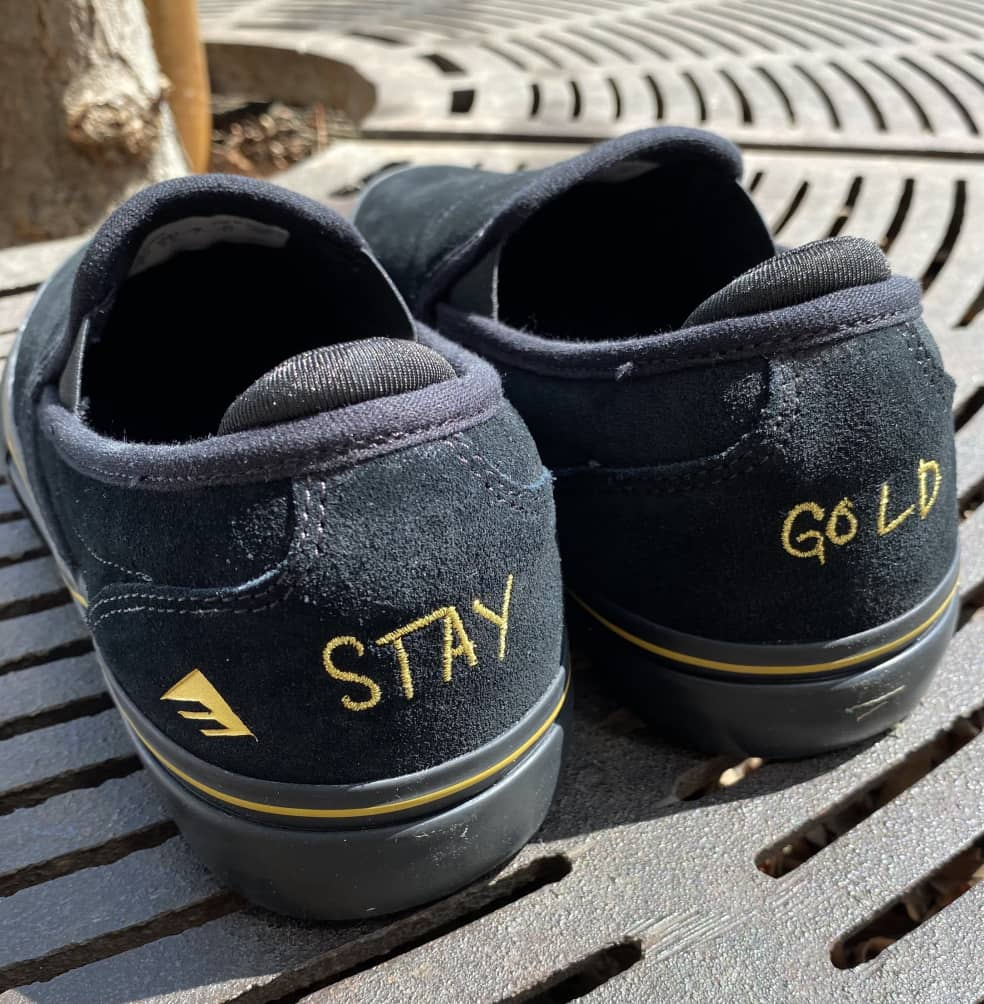 Emerica Wino G6 Slip-On Skate Shoes (Stay Gold Anniversary) - Black / Gold | Shoes by Emerica 2
