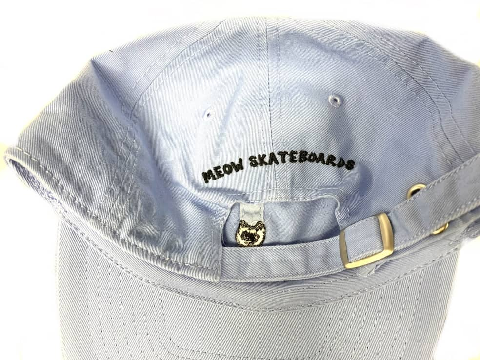 Meow Skateboards Unstructured Baby Blue Hat Strapback | Baseball Cap by Meow Skateboards 2