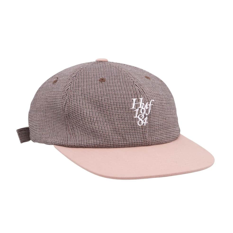 HUF Micro Houndstooth 6 Panel Hat - Dusty Rose | Baseball Cap by HUF 1