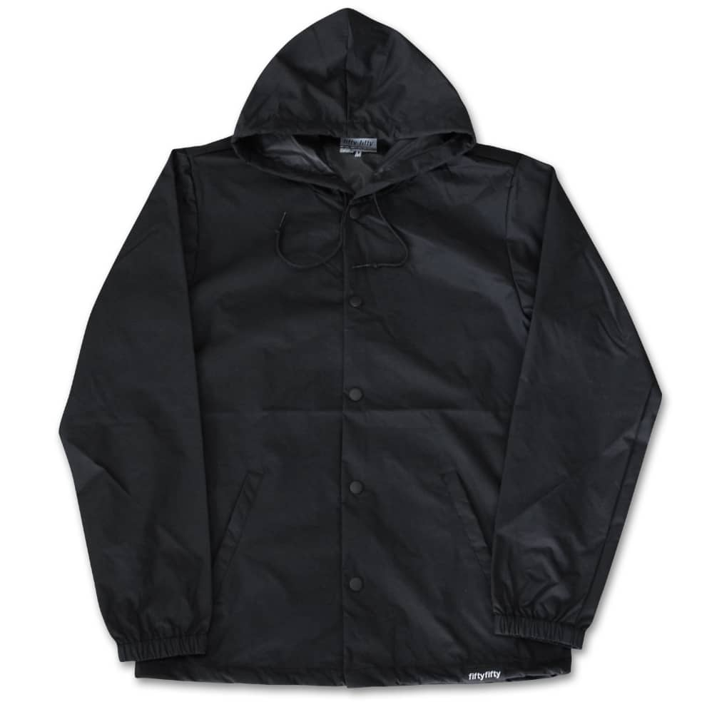 Fifty Fifty Outline Hooded Coach Jacket Black | Coach Jacket by Fifty Fifty Store 2