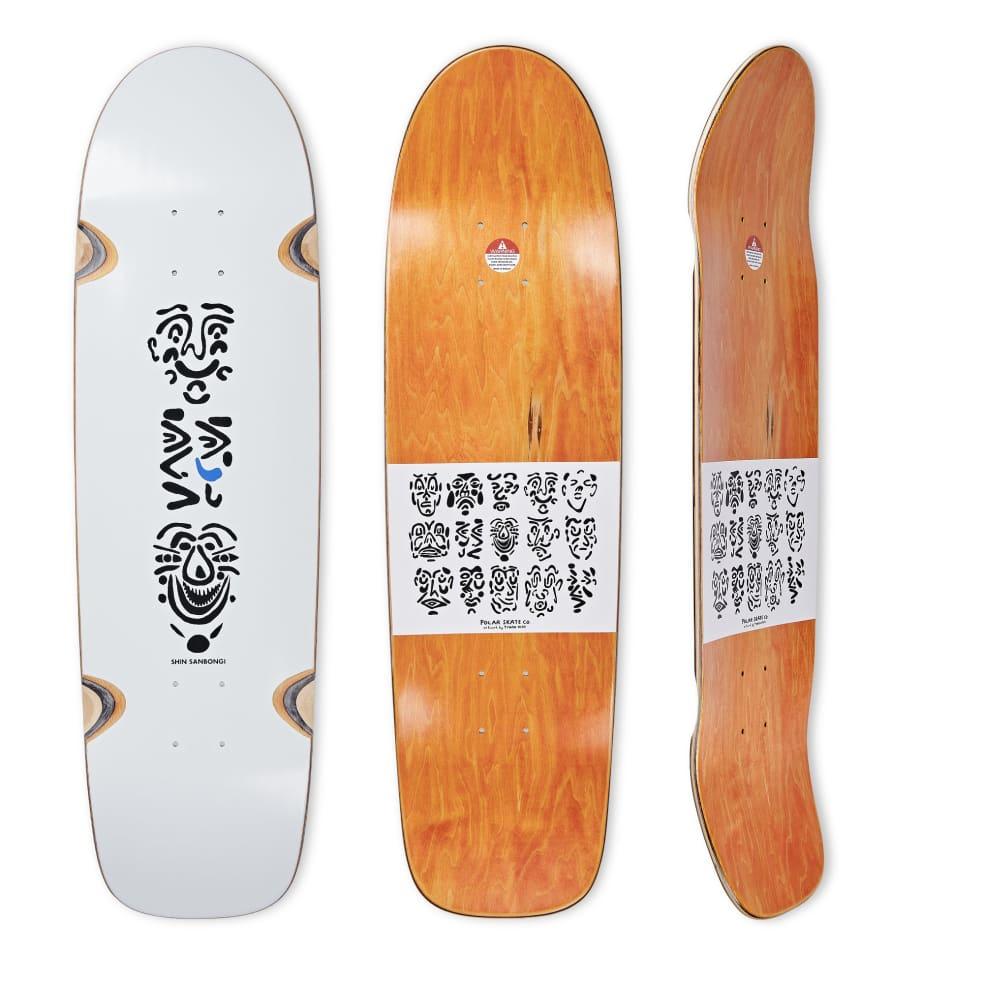 "Polar Deck - Shin Sanbongi ""Faces"" White - WHEEL WELL Surf Jr.   Deck by Polar Skate Co 1"