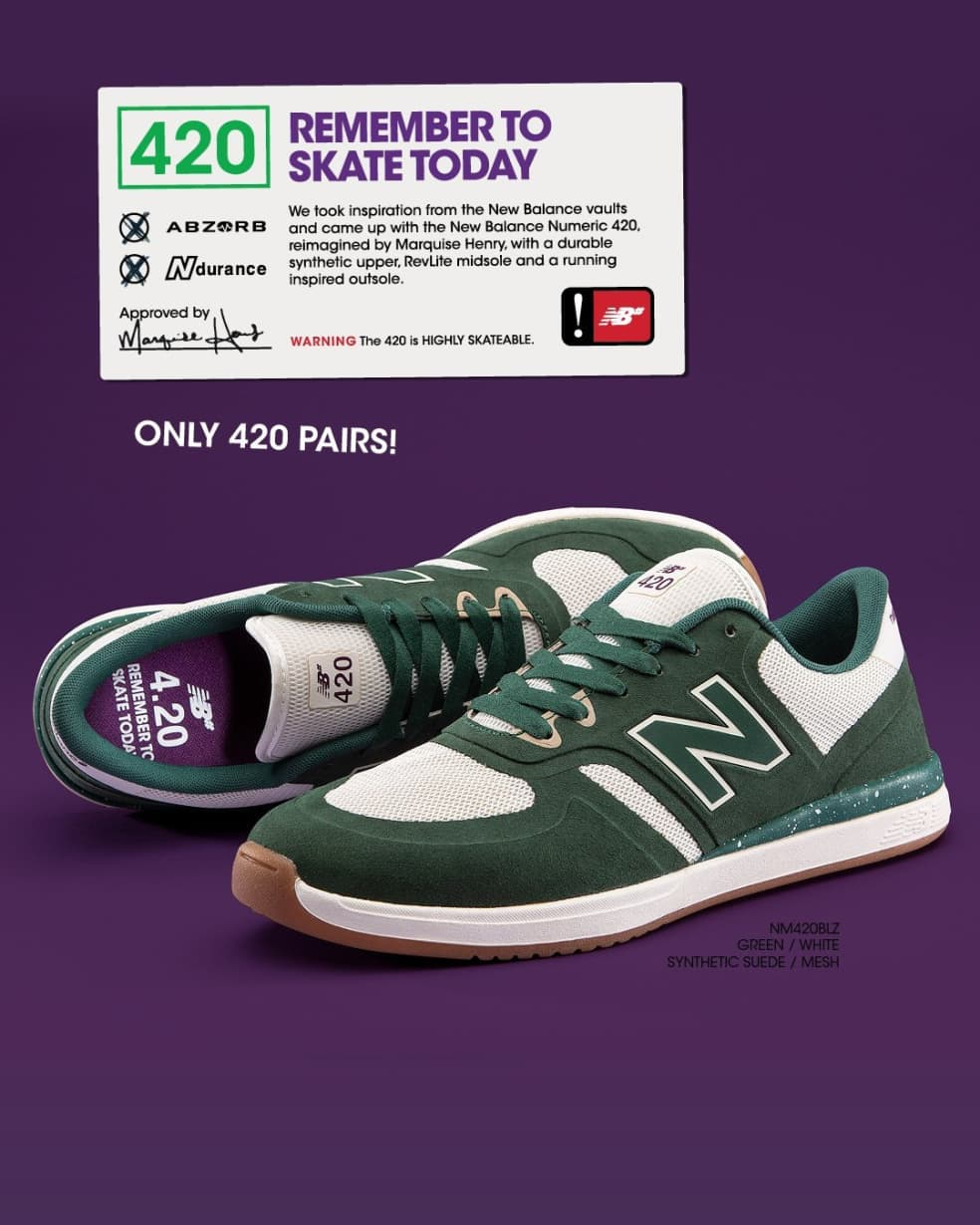 New Balance Numeric 420 Skate Shoe - Green / White - Limited Edition   Shoes by New Balance 3