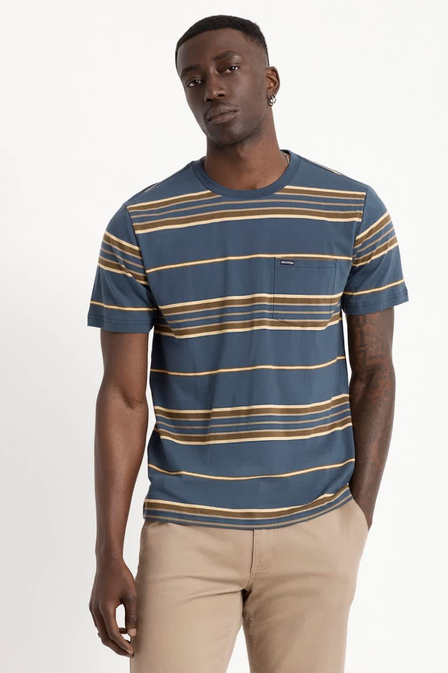 BRIXTON HILT S/S POCKET KNIT - WASHED NAVY/BLONDE | T-Shirt by Brixton 2