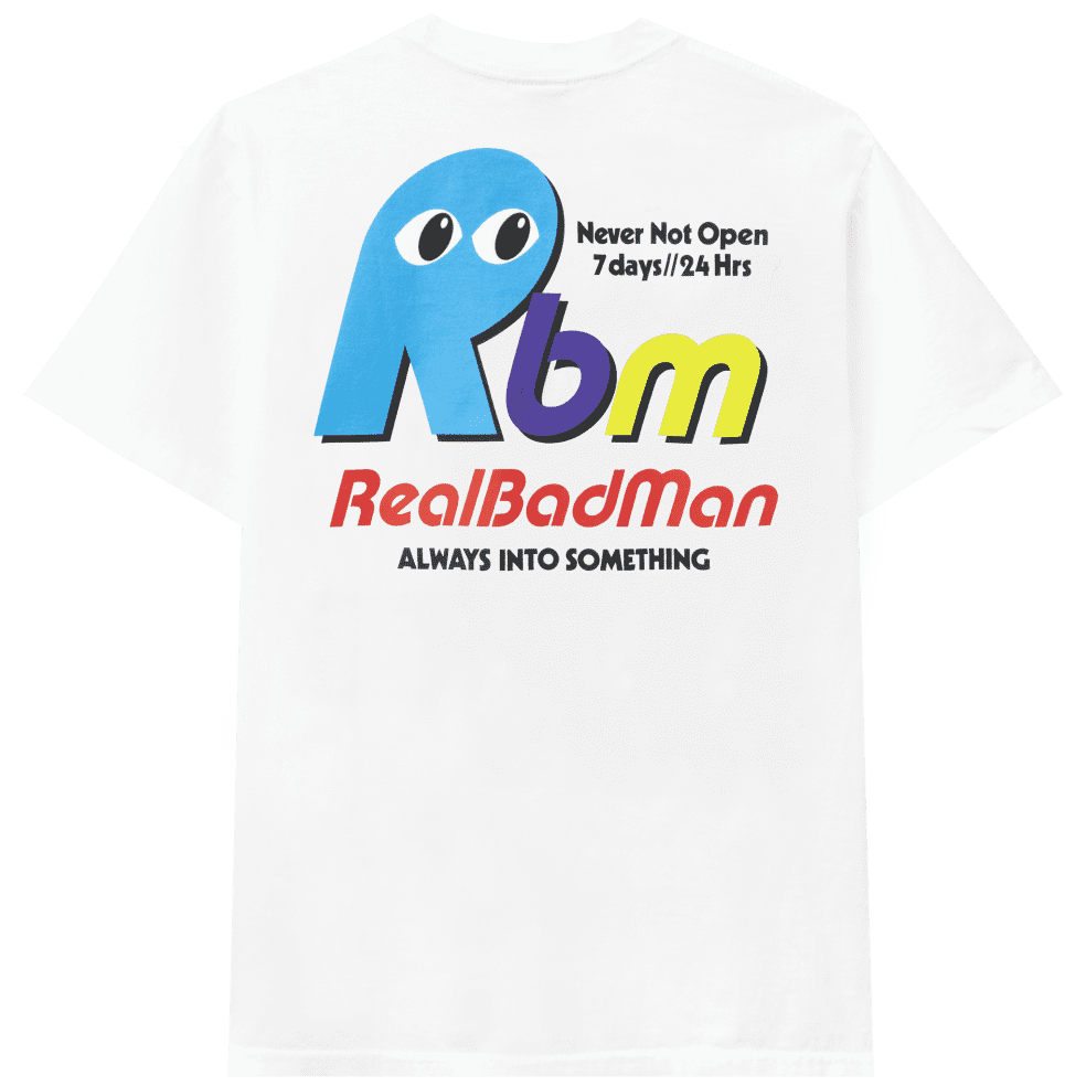 Real Bad Man Never Not Open Short Sleeve T-shirt - White | T-Shirt by Real Bad Man 1