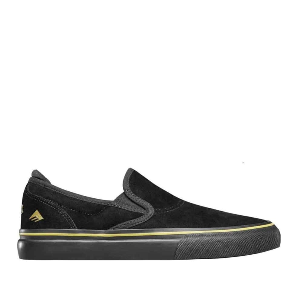 Emerica Wino G6 Slip-On Skate Shoes (Stay Gold Anniversary) - Black / Gold | Shoes by Emerica 1