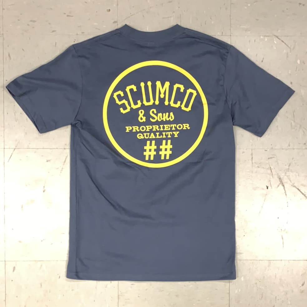 Scumco and Sons Skateboards Logo T-Shirt Stone Blue   T-Shirt by Scumco Skateboards 1