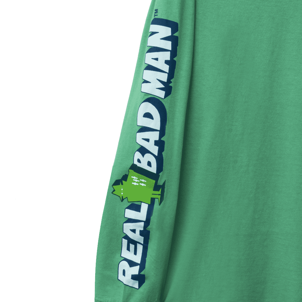 Real Bad Man Graphic Content Long Sleeve T-Shirt - Funk Green | Longsleeve by Real Bad Man 3