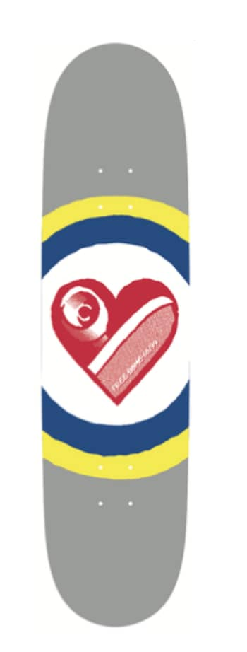 Skate Heart Deck (Grey) 8.25 | Deck by Free Dome Skateboards 2