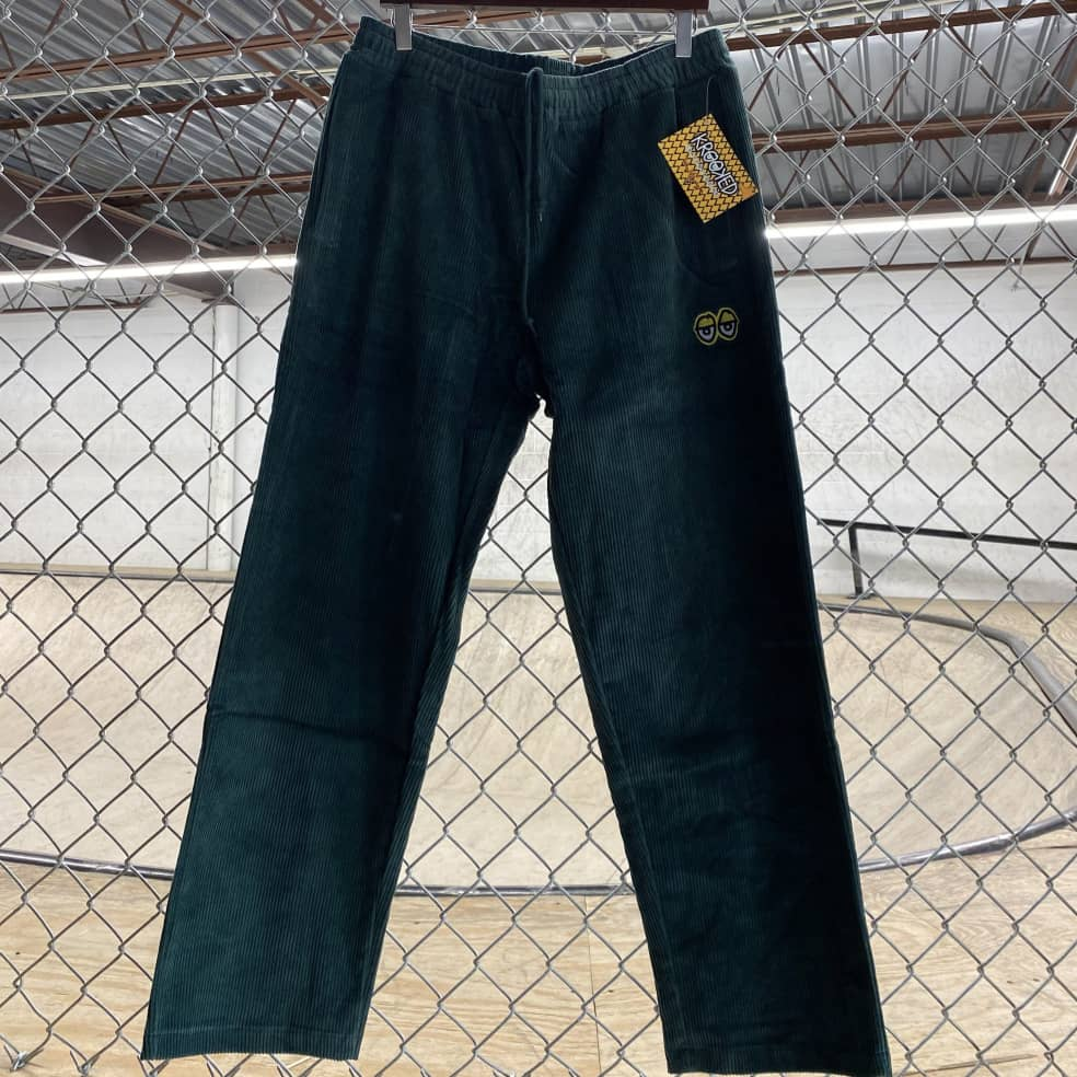 Krooked - Krooked Eyes Chord Pants - Green/XL | Trousers by Krooked Skateboards 1