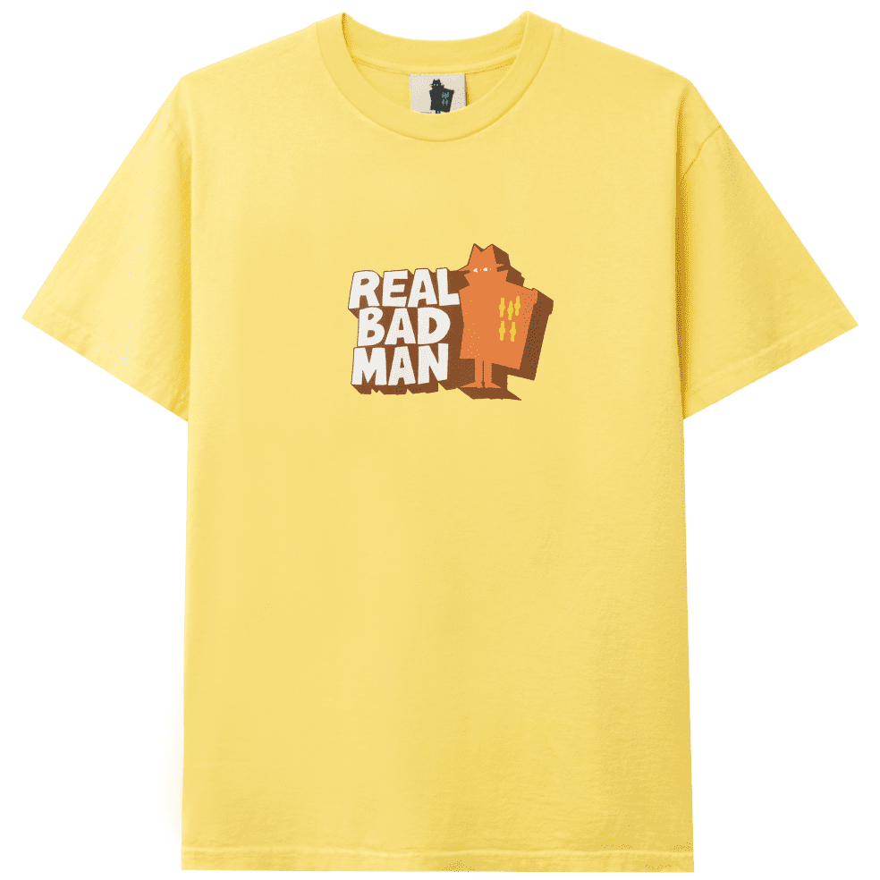 Real Bad Man Front Hitter T-Shirt - Butter Yellow   T-Shirt by Real Bad Man 1