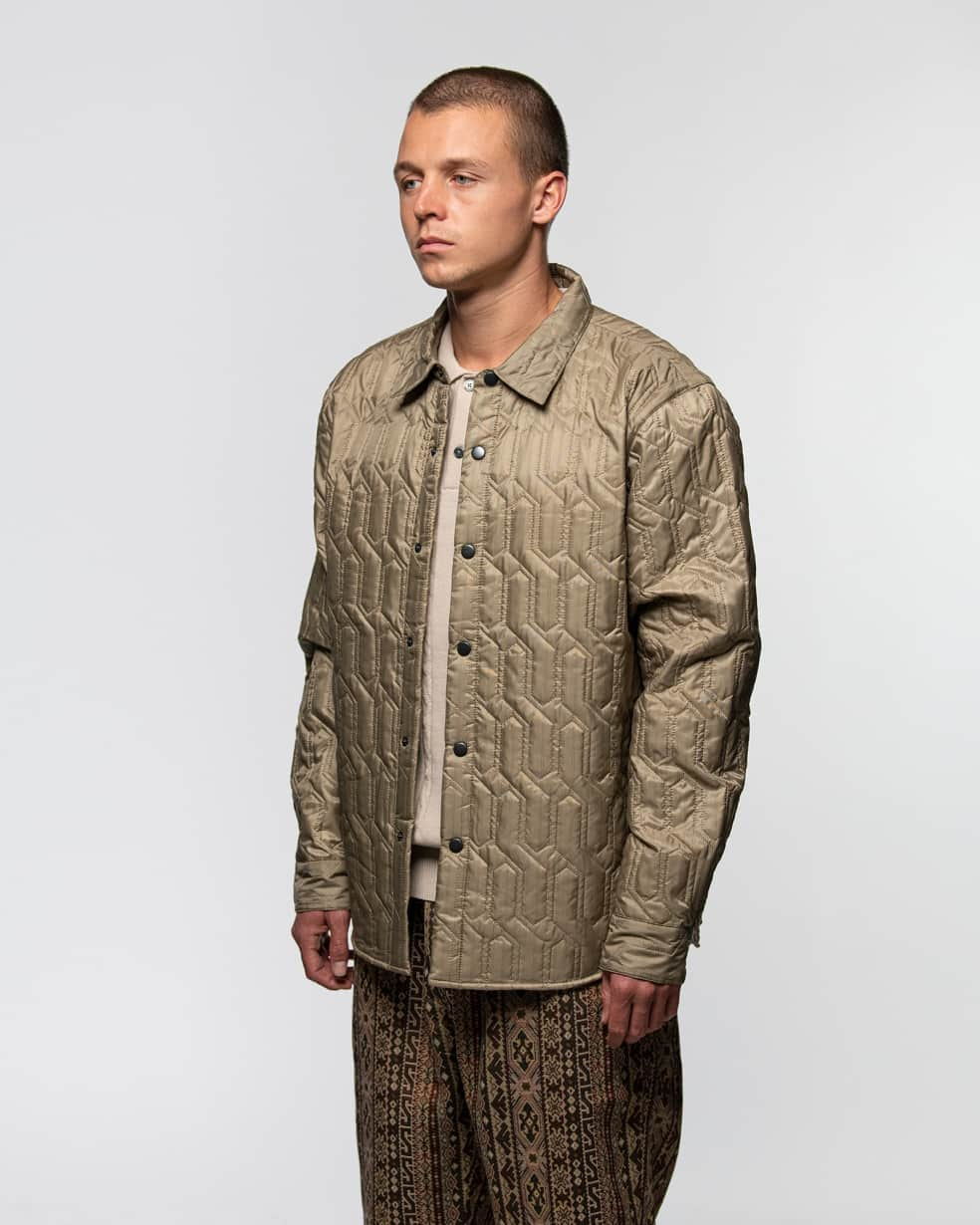 Stüssy Quilted Insulated Long Sleeve Shirt - Beige | Shirt by Stüssy 3
