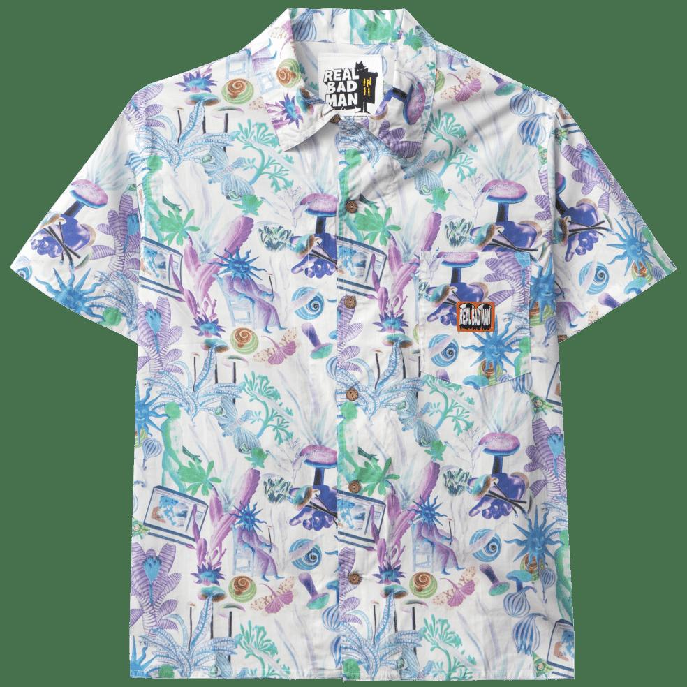 Real Bad Man Psychedelica Vacation Button Down Shirt - Green / Purple | Shirt by Real Bad Man 1