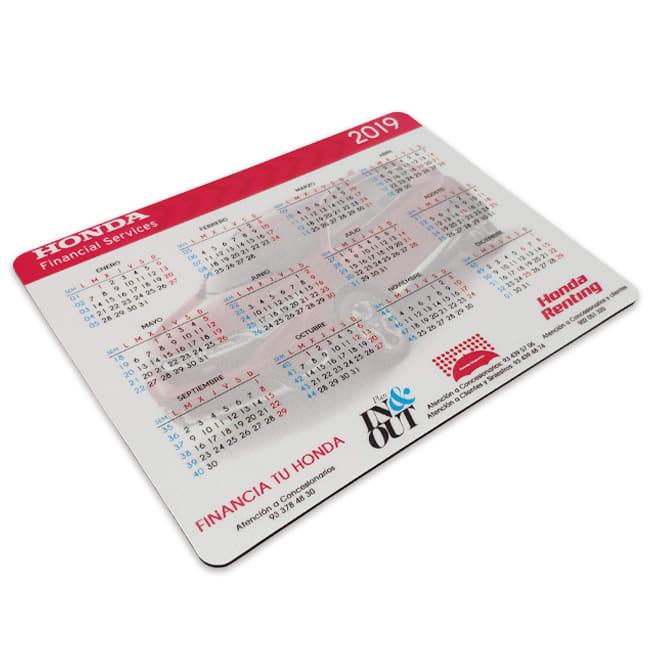 Calendarios publicitarios con forma de alfombrilla