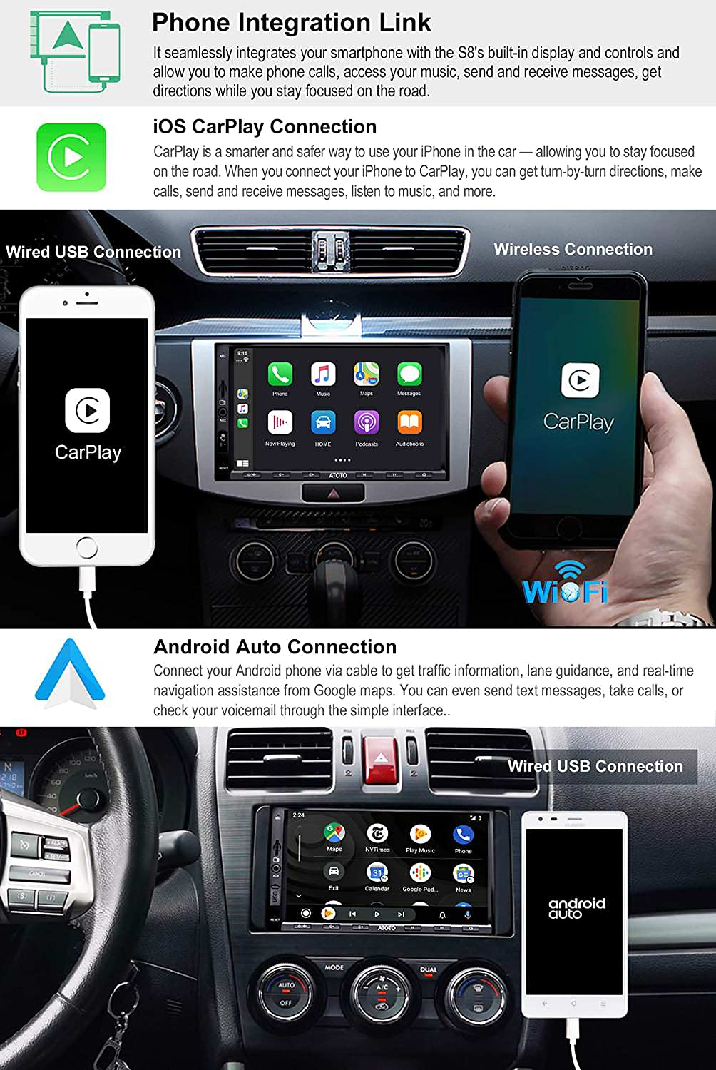 S8 Standard S8G2A71S ATOTO S8 Android Car Stereo Navi System Powerful Soc DSP Tuning Privacy Protect HD Rear Cam in Support 512GB SD /& More Dual Bluetooth w//aptX,Voice Assistant IPS Display