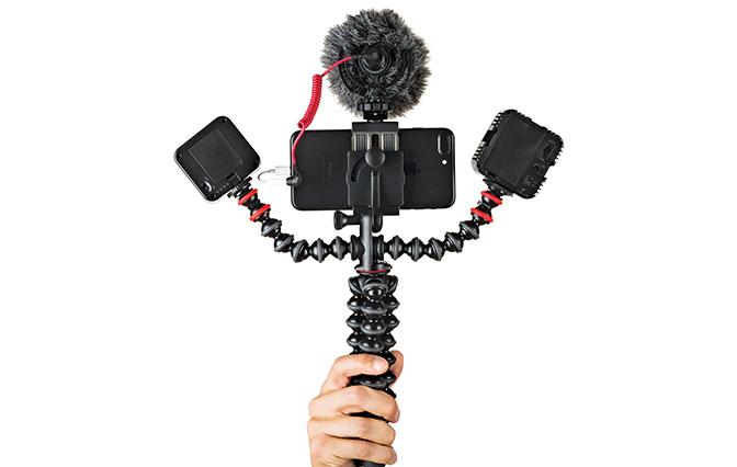 Hand holding JOBY GorillaPod Mobile Rig grip
