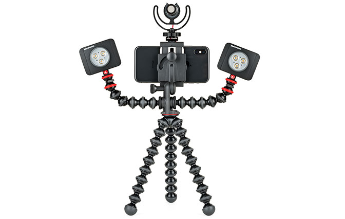 Hand holding JOBY GorillaPod Mobile Rig stand it