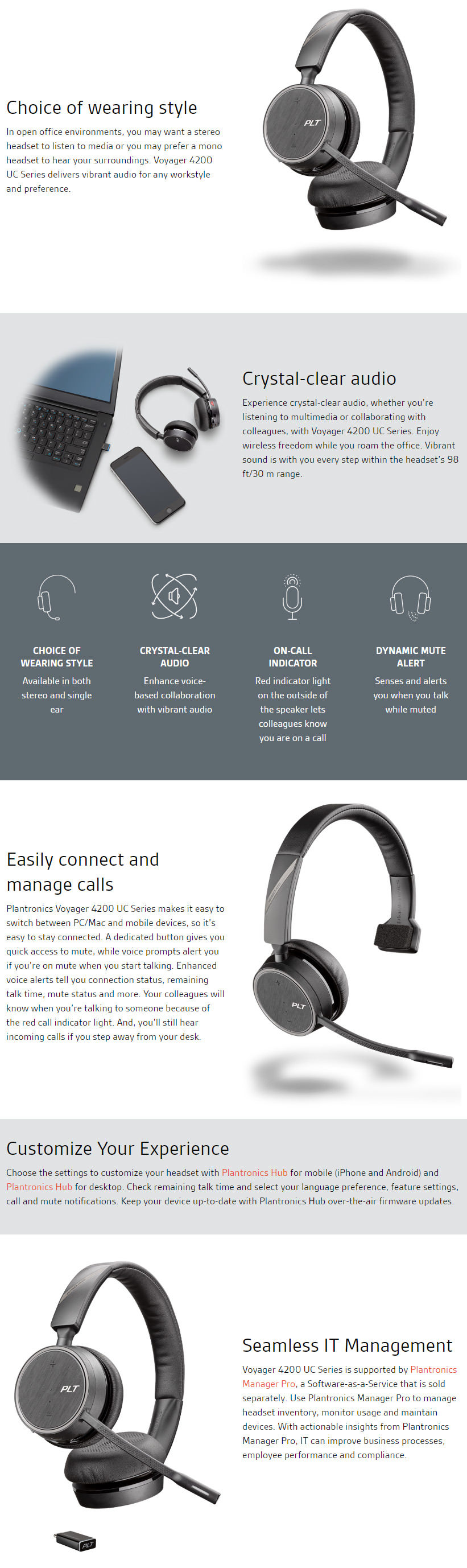 Details about PLANTRONICS VOYAGER 4220 UC MOBILE STEREO USB-A HEADSET  211996-01