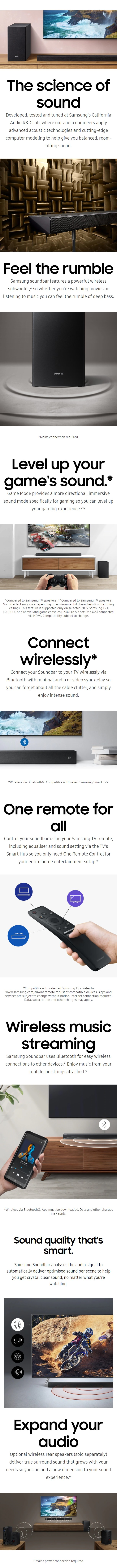 Details about SAMSUNG HW-R450/XY 2 1 CHANNEL SOUNDBAR + WIRELESS SUBWOOFER  DOLBY DIGITAL DTS