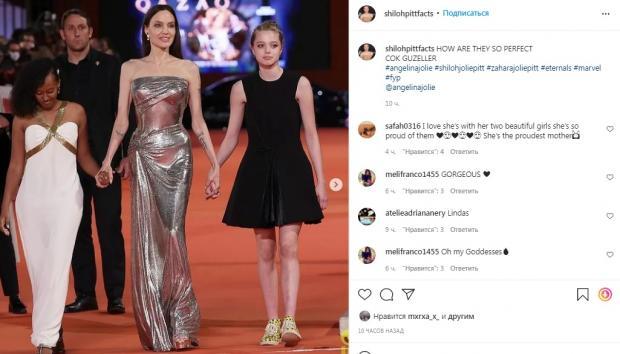 Шайло Джоли-Питт в коротком платье вышла на красную дорожку вместе с мамой и сестрой