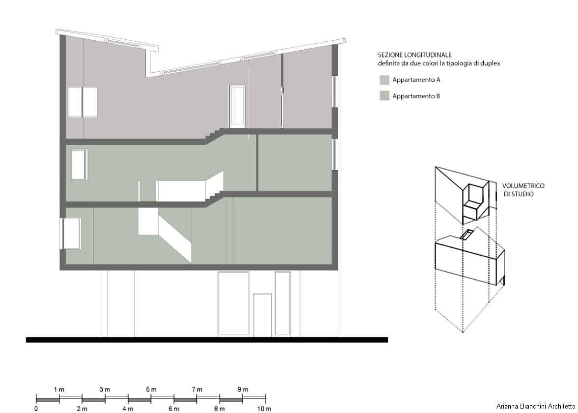 Sezione longitudinale appartamento 1