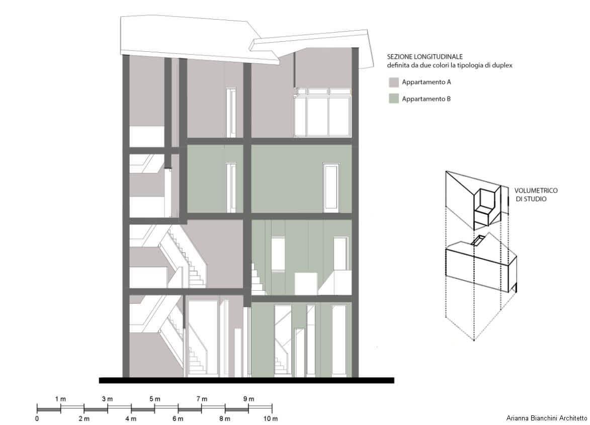 Sezione longitudinale appartamento 2