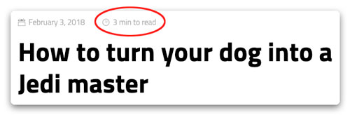 Estimated Reading Time Screenshot