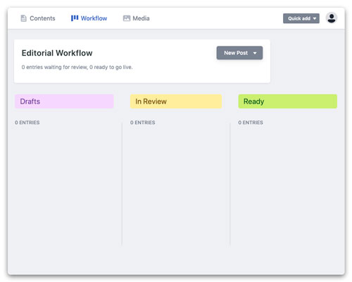 Netlify CMS workflow screenshot