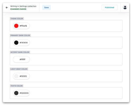 Netlify CMS theme settings screenshot
