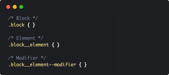 Exemplo de escrita CSS usando BEM